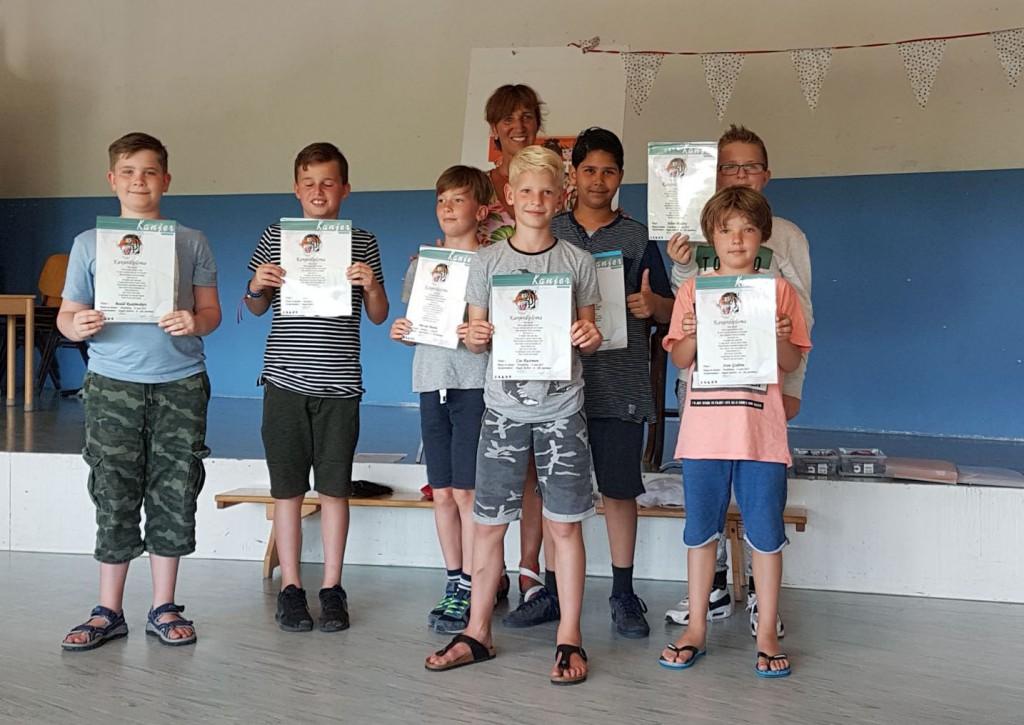 8 kinderen legden de Kanjertestjes goed af op 21 juni 2017 in Hoofddorp (groep 80)